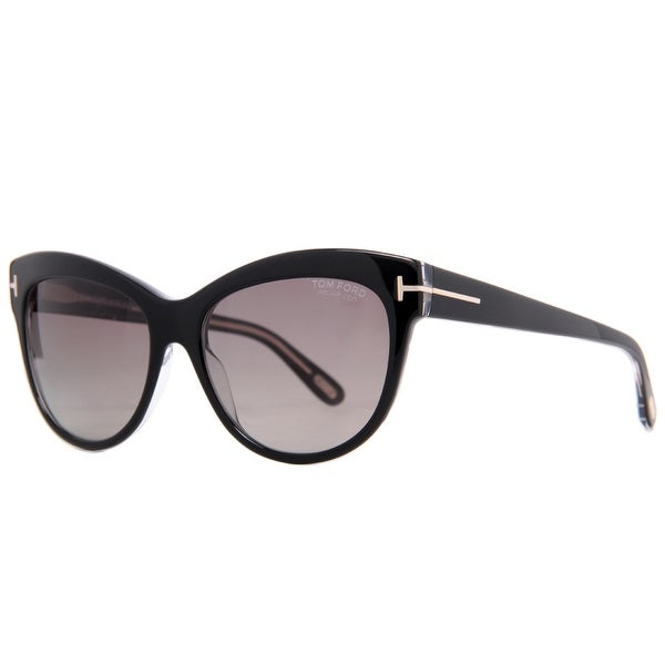 Tom Ford Lily TF 430 05D Black Women's Polarized Cat Eye Sunglasses - 56mm-16mm-140mm