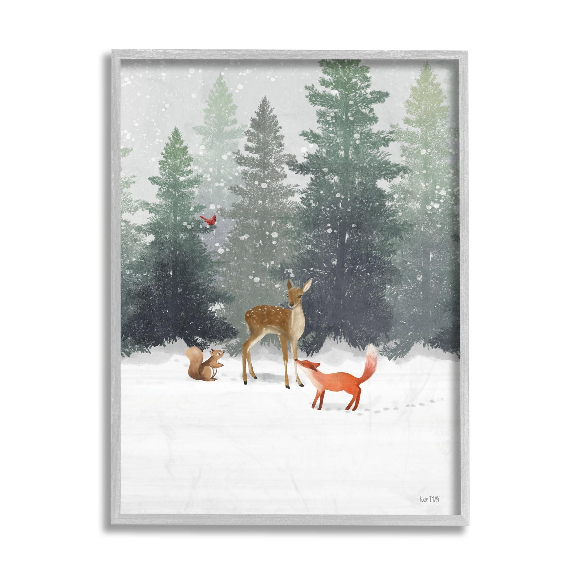 Stupell Industries Winter Season Forest Animals Fox Deer Squirrel Framed Wall Art Multi Color Overstock 32077483