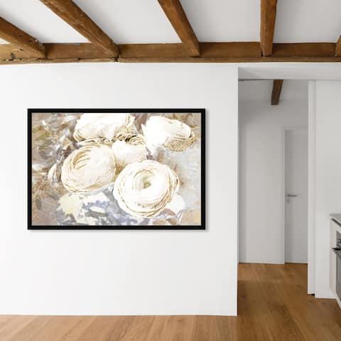 Oliver Gal 'Serving Ranunculus Gold' Floral and Botanical Wall Art Framed Print Florals - White, Gold