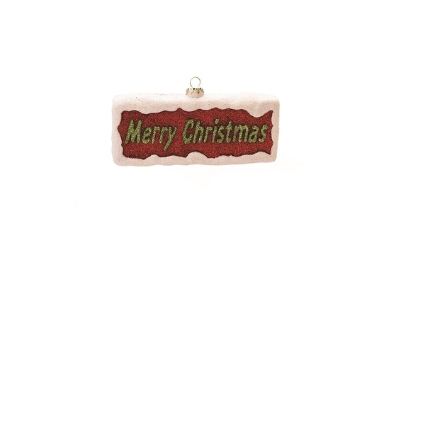 "5.5"" Merry & Bright Red White and Green Glitter ""Merry Christmas"" Shatterproof Christmas Ornament"