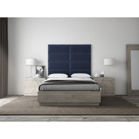 VANT Upholstered Headboards - Accent Wall Panels - Packs Of 4 - PLUSH VELVET Navy - 30 inch  Wide x 11.5 inch  Height