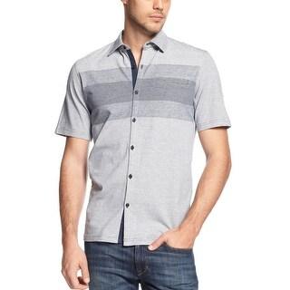 Alfani Big and Tall Mens Cotton Striped Shirt Neo Navy Large Tall LT