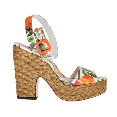 Dolce & Gabbana Orange Leather Straw Platform Sandals