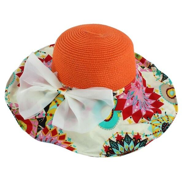 f68c954dffa Lady Foldable Straw Braided Bowknot Decor Beach Sun Bucket Hat Sunhat Orange