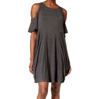 Kensie NEW Gray Womens Size Medium M Cold-Shoulder Draped Shift Dress