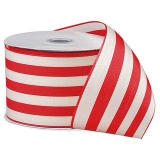 "Pack Of 1, Hot Red 2.5"" X 10 Yards Cabana Stripes Ribbon 100% Polyester For Christmas / Valentine Packaging"