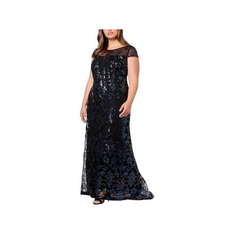 Calvin Klein Womens Plus Evening Dress Sequined Cap Sleeves
