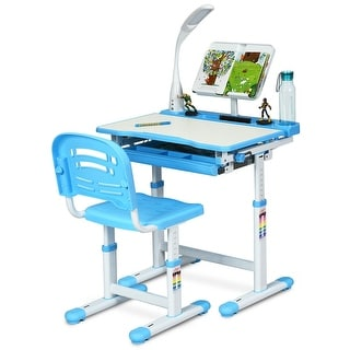 Link to Gymax Height Adjustable Kids Desk Chair Set Study Drawing w/Lamp & Similar Items in Computer Desks