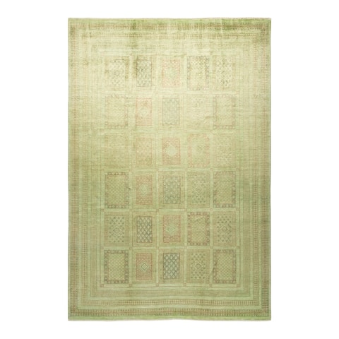 """Vibrance, One-of-a-Kind Hand-Knotted Area Rug - Green, 7' 10"""" x 11' 9"""" - 7' 10"""" x 11' 9"""""""