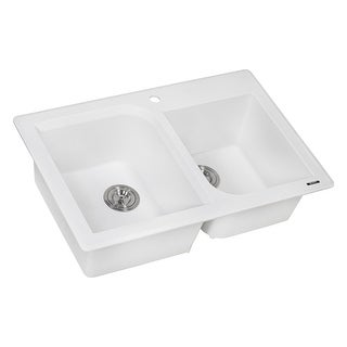 "Ruvati RVG1396  epiGranite 33"" Undermount Double Basin Granite Composite Kitchen Sink with Sound Dampening"
