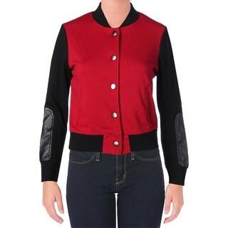 eric + lani Womens Juniors Basic Jacket ColorBlocked Faux Leather Trim - S