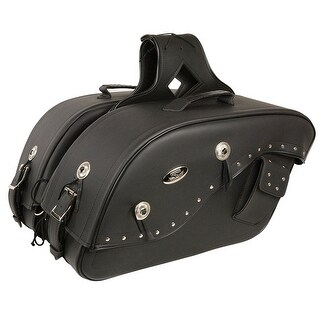 Black Leather Motorcycle Saddle Bags 13X10X6X19