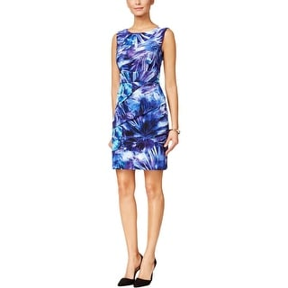 Connected Apparel Womens Petites Casual Dress Tiered Printed