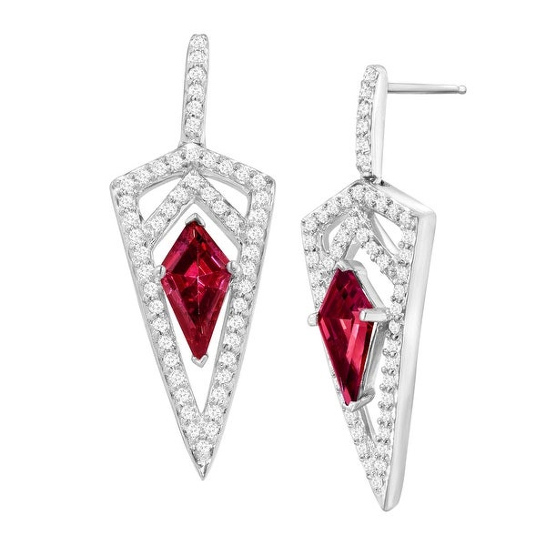 Dagger Drop Earrings with Red & White Swarovski Elements Zirconia in Sterling Silver