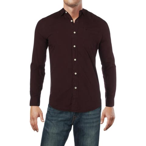 Dockers Mens Button-Down Shirt Faded Spread Collar - S