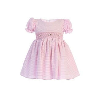 Lito Baby Girls Pink Stripes Smocked Waist Easter Dress