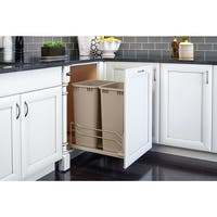 Rev-A-Shelf 53WC-2150SCDM-2 53WC Series Bottom Mount Double Bin Trash Can with Full Extension Slides - 50 Quart Capacity per Bin