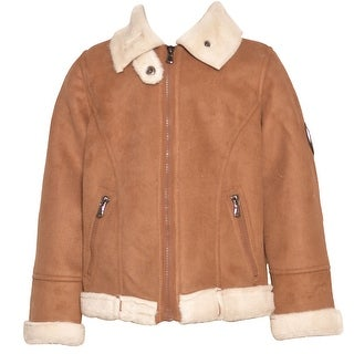 Urban Republic Little Girls Tan White Faux Accent Zipper Pockets Coat 4-6X