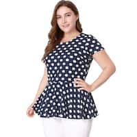 Women Plus Size Short Sleeves Polka Dots Peplum Top