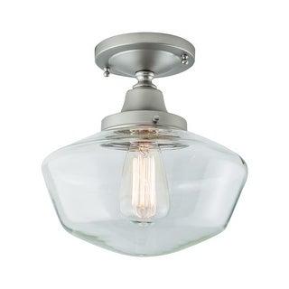 "Norwell Lighting 5361F-CL Schoolhouse Single Light 10"" Wide Semi-Flush Ceiling F"