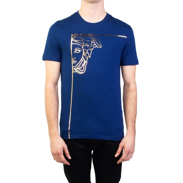 eedebf77 Versace Collection Men's Cotton Angular Medusa Graphic T-Shirt Blue  Gold
