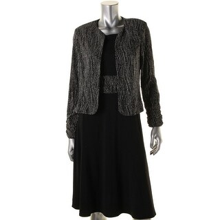 Jessica Howard Womens Petites Metallic Long Sleeves Dress With Cardigan