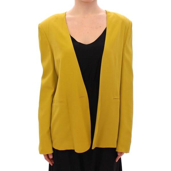 Lamberto Petri Mustard Yellow Silk Blazer Jacket