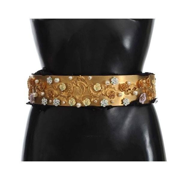 Dolce & Gabbana Gold Brass Floral Pearl Waist Belt - 80-cm-32-inches