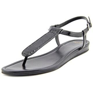 Cole Haan Molly Flat. Thong. II Women Open-Toe Leather Black Slingback Sandal