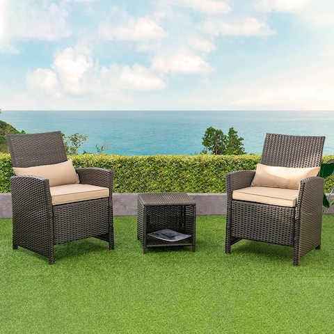 PE Wicker Patio Bistro Set Conversation Set with Sofa Chairs and Table - See the details