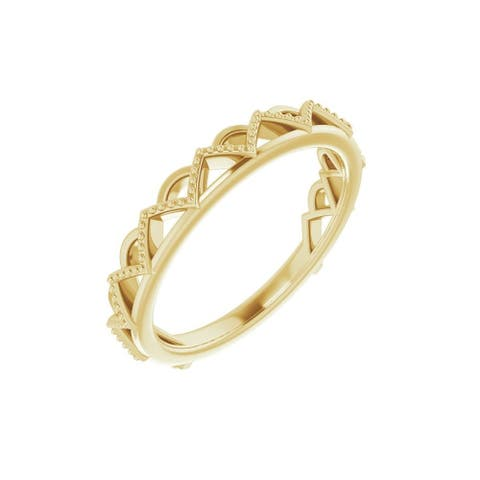 14K Gold Stackable Crown Ring for Women (Size :7)