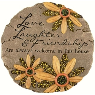 "9.25"" Love, Laughter and Friendship Beaded Floral Outdoor Garden Patio Stepping Stone"