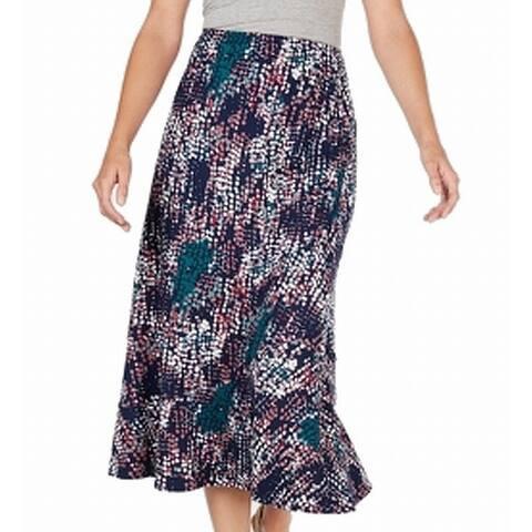 NY Collection Blue Multi Women Size Medium PM Petite Midi Maxi Skirt