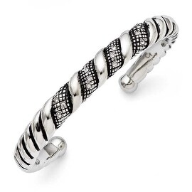 Chisel Stainless Steel Crystal Antiqued Cuff Bangle