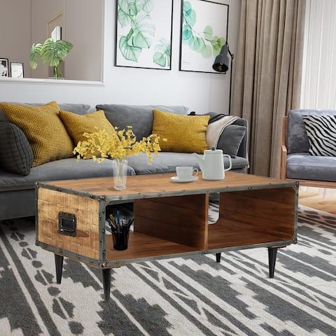 ExBrite Solid Wood Coffee Table ,Black Metal Legs,Rich Rustic Oak Finish