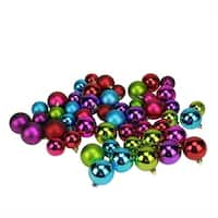 "50ct Vibrantly Colored Shatterproof Shiny and Matte Christmas Ball Ornaments 1.5""-2"" - Red"