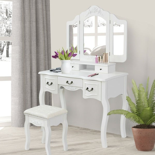 . Gymax Bathroom Makeup Vanity Dressing Table Set With Stool Tri folding  White 5 Drawers