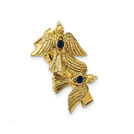 14k Gold IP Blue Crystal Dove Tie Clip