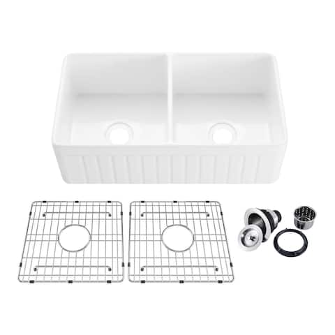 "33"" White Fireclay Farmhouse Undermount Double Kitchen Sink with Bottom Grid and Strainer"