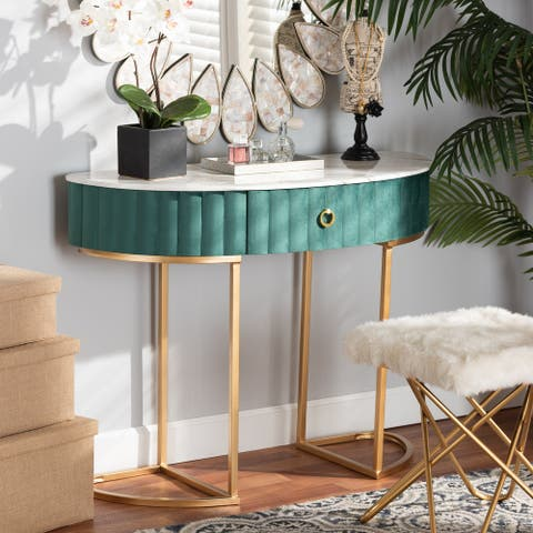Beale Luxe and Glam Upholstered 1-Drawer Console Table