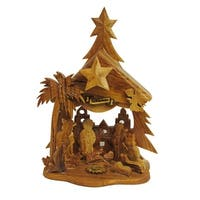 """6.9"""" Hand Carved Wooden Nativity Music Box Christmas Decorative Figurine - brown"""