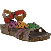 L'Artiste by Spring Step Women's Kukonda Quarter Strap Sandal Grey Multi Leather