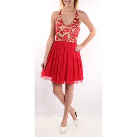 TEEZE ME $89 New 1571 Red Color Block Embellished Dress Juniors 3 B+B