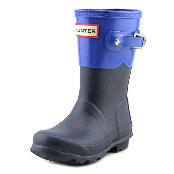Hunter Original Kids Tonal Contr Youth Round Toe Synthetic Blue Rain Boot