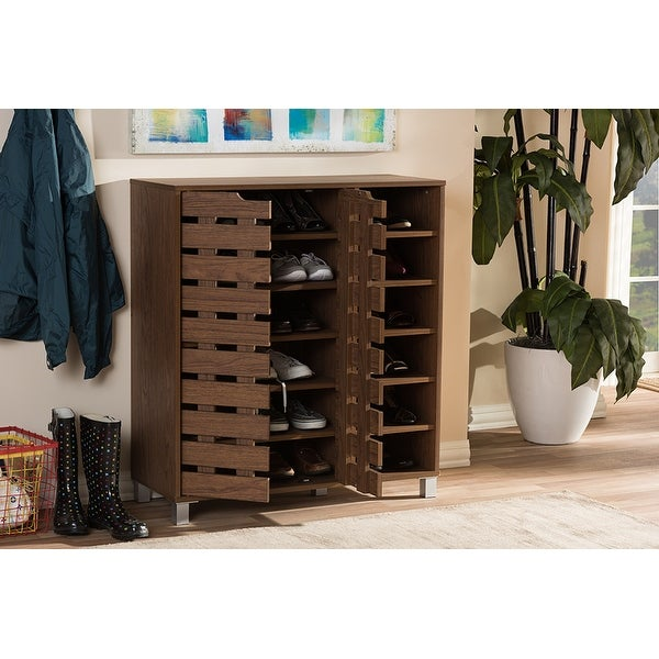Charmant Lucerne Walnut Medium Brown Wood 2 Door Entryway Shoe Cabinet With Open  Shelves