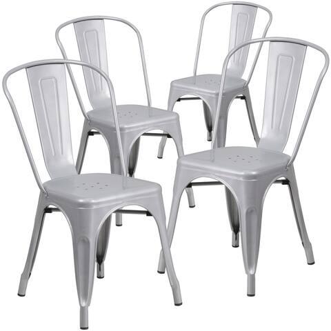 4 Pack Metal Indoor-Outdoor Stackable Chair - Restaurant Chair - Bistro Chair