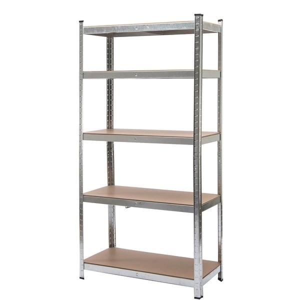 costway 5 level heavy duty shelf garage steel metal storage rack adjustable shelves - Heavy Duty Bookshelves