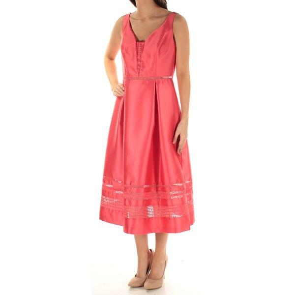 af2900357c8 Shop ADRIANNA PAPELL Womens Coral Lace Sleeveless V Neck Midi Fit + Flare  Dress Size  6 - Free Shipping On Orders Over  45 - Overstock - 21388629