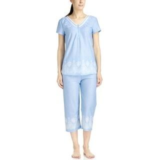 Body Touch Women's Blue Border Print Top/Capri Pajama Set