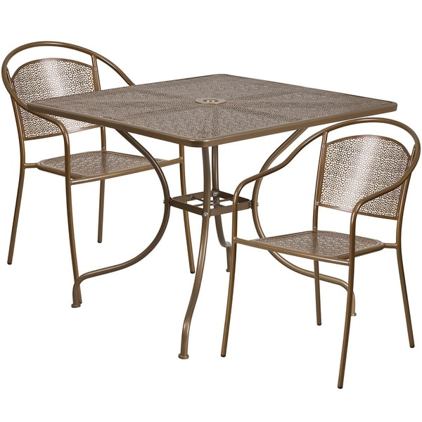 Merveilleux Sterling Square 35.5u0026#x27;u0026#x27; Gold Indoor Outdoor Steel Table